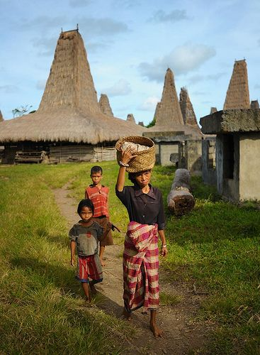Wainyapu Villagers. Wainyapu Village is a traditional village on the west Sumba Island, Nusa Tenggara Timur, Indonesia. Their traditional house called Uma Bokulu