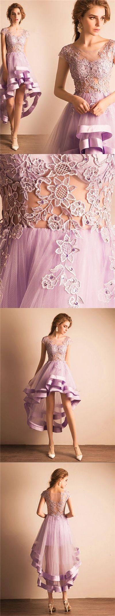 Cute Homecoming Dress Lilac Tulle Asymmetrical Short Prom Dress Party Dress JK302
