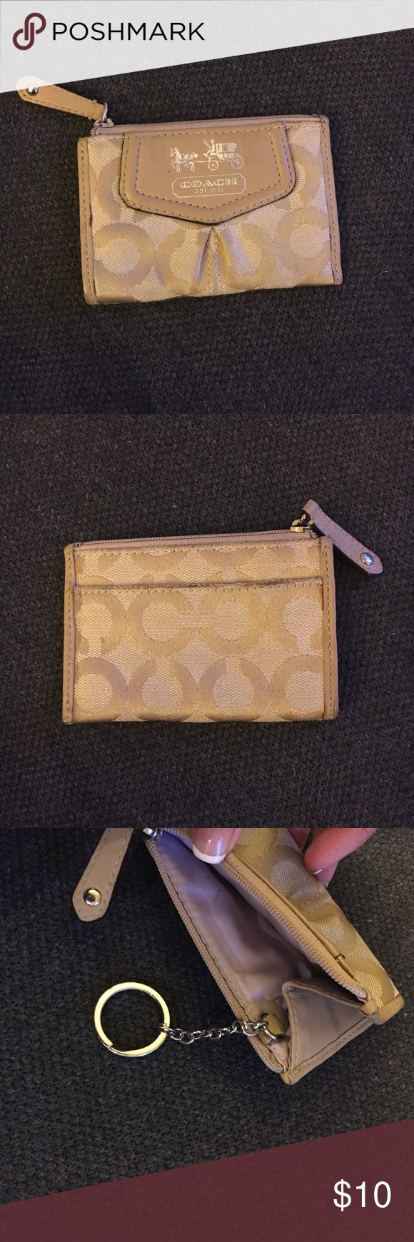 """Coach """"C"""" Signature Mini Skinny Wallet Good condition small zip wallet. Mini Skinny keeps keys, cards, and other small essentials secure within its remarkably skinny—and mini—silhouette. Coach Accessories Key & Card Holders"""