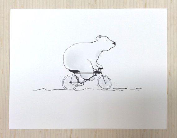 Polar bear on a bike greeting card flat by UshiStore on Etsy