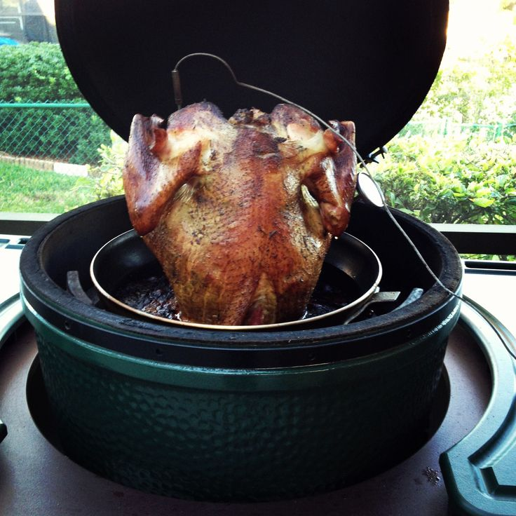Beer Can Turkey in the Big Green Egg- cooks fast and yields juicy moist turkey every time!