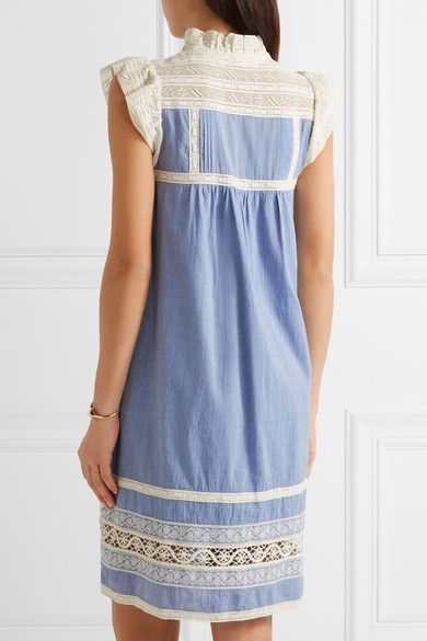 SEA - Ruffled Lace-trimmed Cotton-chambray Dress - Light blue - US10