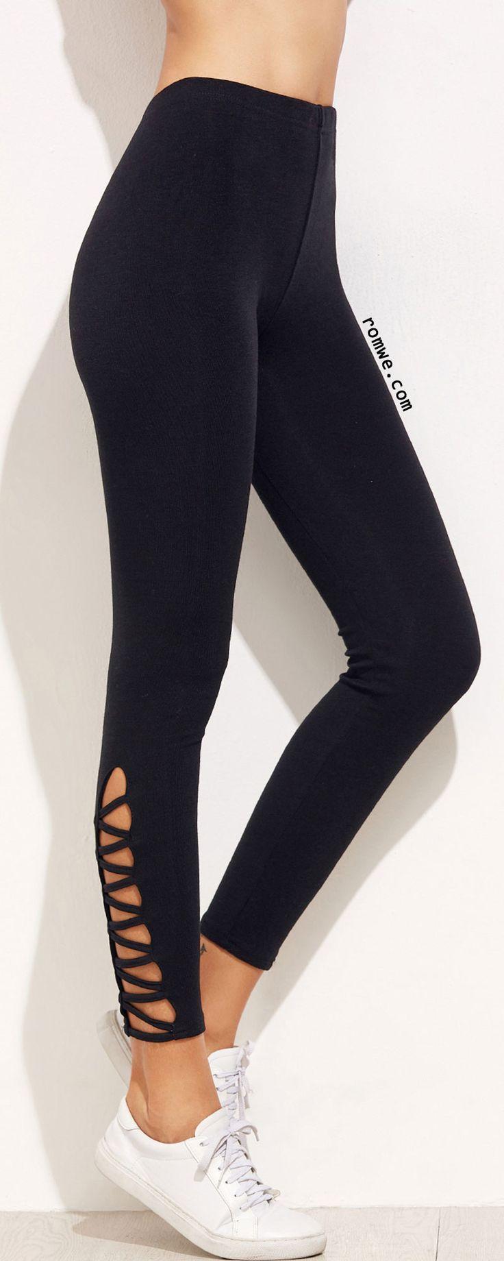 Black Lattice Hem Leggings