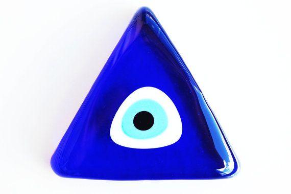 Triangle Glass Evil Eye Paperweight by TheGrandBazaar on Etsy, $12.50