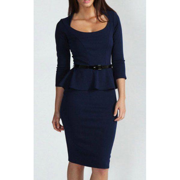 3/4 Sleeves Scoop Neck Belt Beam Waist Packet Buttock Flounces Sexy Women's Peplum Dress, DEEP BLUE, L in Dresses 2014 | DressLily.com