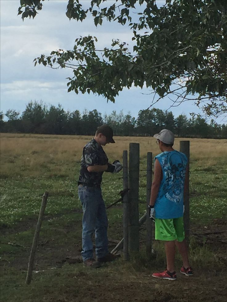 Ben Shawn fixing fence. Home 1/4 pasture