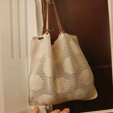 crochet - filet circles tote bag - pretty