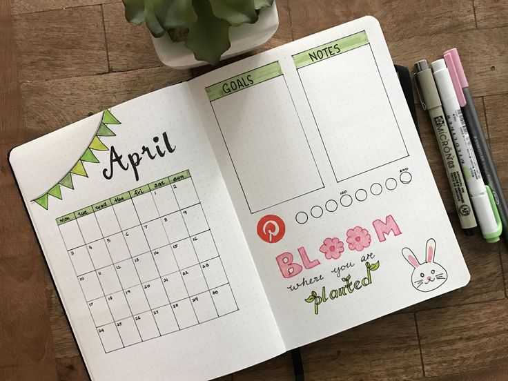 April Monthly layout for bullet journal. #Bujo #Spring #Bunny