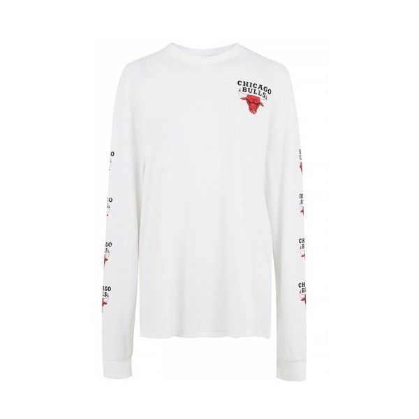 Chicago Bulls Long Sleeve T-Shirt by Unk X Topshop ($58) ❤ liked on Polyvore featuring white