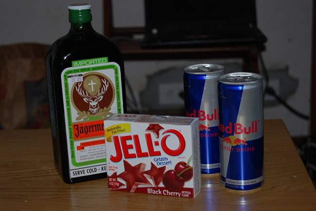 """""""jager bomb"""" jello shots!  black cherry jello (sometimes i use orange they are both good here) and red bull. boil two cups red bull, mix two minutes, then add two cups jager.  lots of unique jello shot flavors here"""