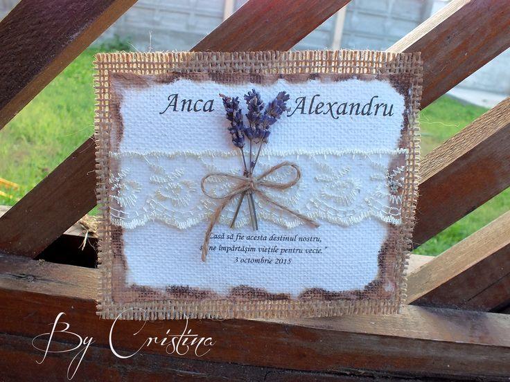 burlap,lace lavander  and handmade paper wedding invitation