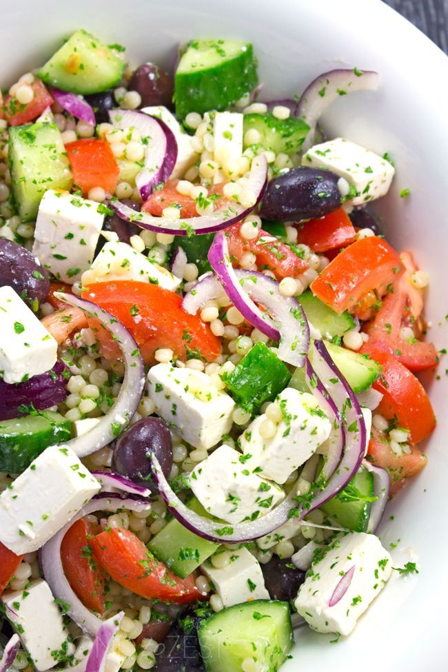 Israeli Couscous Greek Salad Recipe - Light & refreshing salad packed full of fresh produce perfect for getting healthy this summer!! Vegetarian / Gluten-free