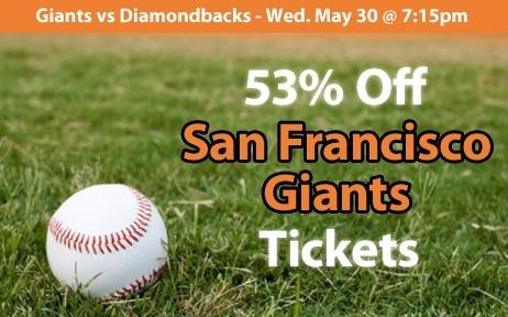 53% off San Francisco Giants Tickets vs Arizona Diamondbacks Wed. May 30 @ 7:15pm