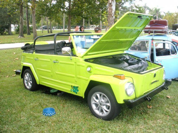 "I wants this car. Volkswagen 181, except in pink. I DONT KNOW WHO CALLED IT A 181 BUT ITS CALLED A VW ""THING"""