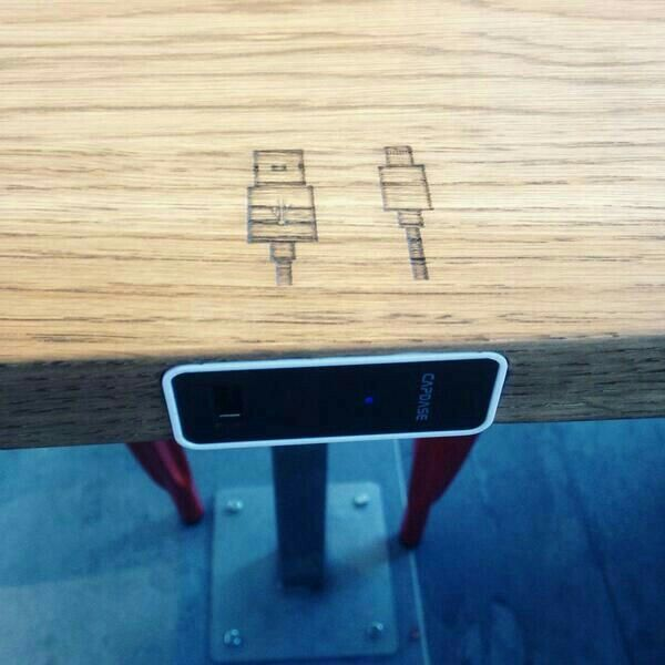 USB Connectors built into all the tables @vidaecaffe in Bree Street.