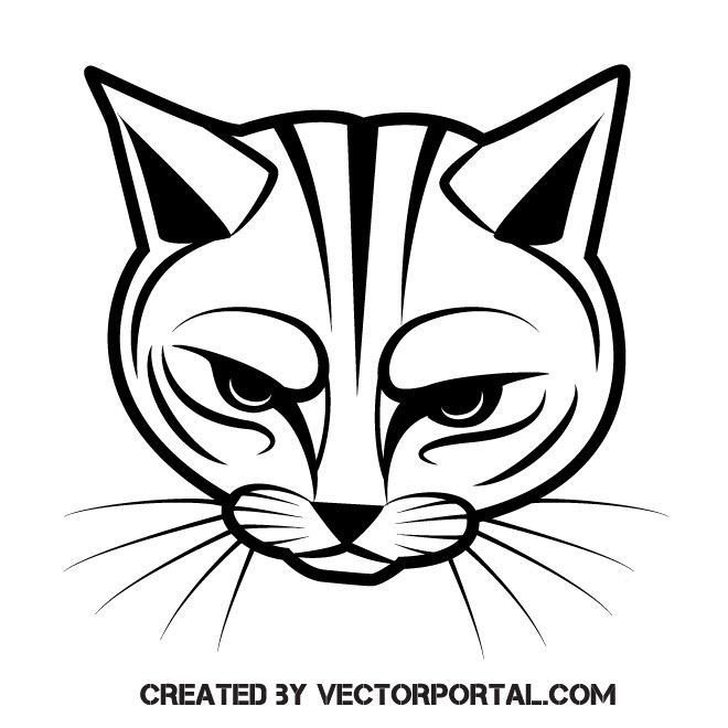 Cat Face Silhouette Free Vector Image Freevectors Illustration Vector Illustrator Eps Ai Cats Illustration Cat Art Print Cat Tattoo
