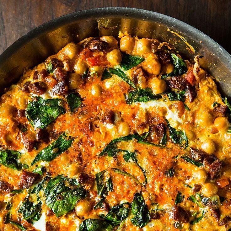 Chickpea, Spinach, and Chorizo Frittata recipe on Food52