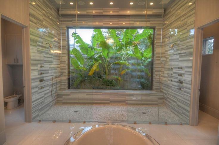 Asian Master Bathroom with Paint 1, frameless showerdoor, can lights, Master bathroom, Java Tan Pebble Tile, Shower, Bidet