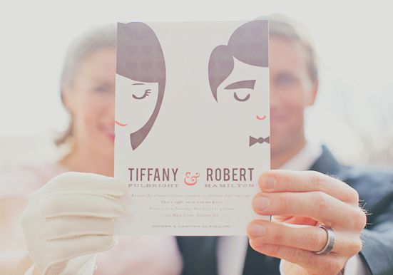 Match up invite cartoon faces with faces | Valentine's Day elopement inspiration