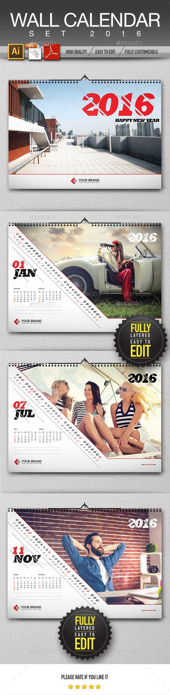 Wall Calendar Design AI, EPS, PDF Template #design Download: http://graphicriver.net/item/wall-calendar-design-2016/13028224?ref=ksioks