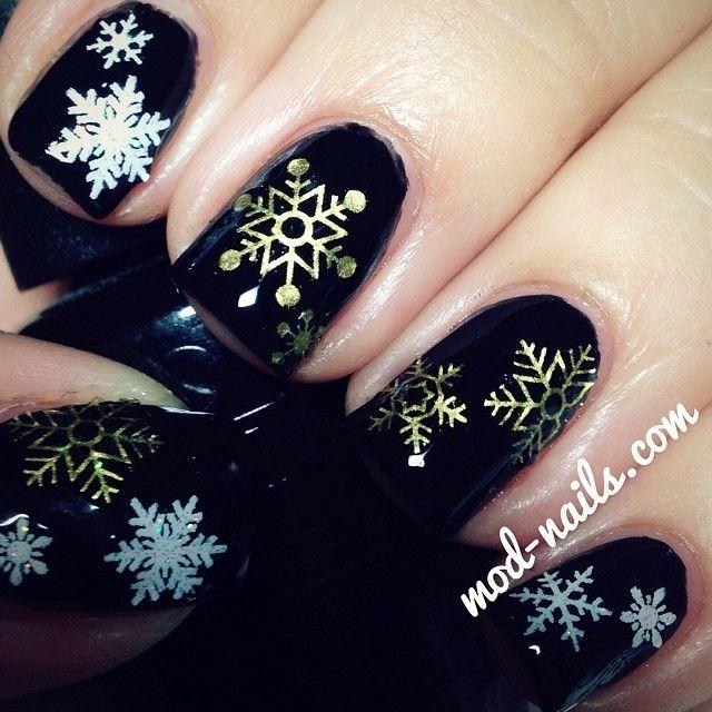 instagram photo by modnails nail nails nailart - Black Christmas Nails