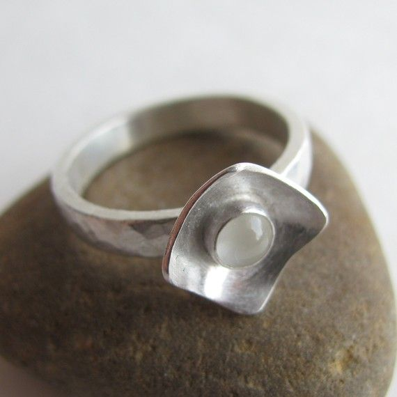 moonstone domed square ring