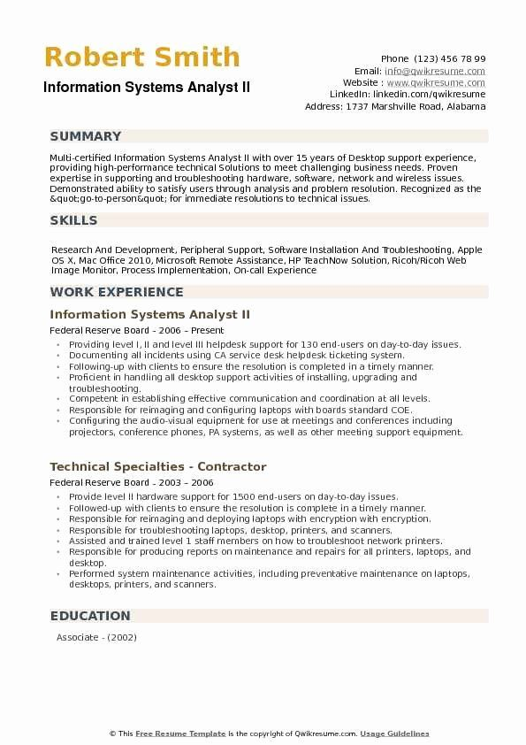 Computer Information Systems Resume Lovely Information Systems Analyst Resume Samples