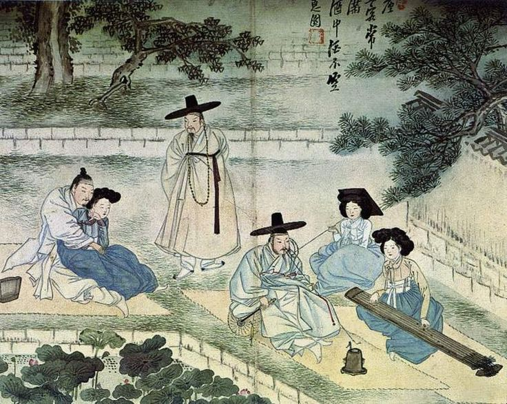 'Hyewon Pungsokdo' is an album of genre paintings by Shin Yunbok or Hyewon, one of the most famous genre painters of the late Joseon period (1390-1910).