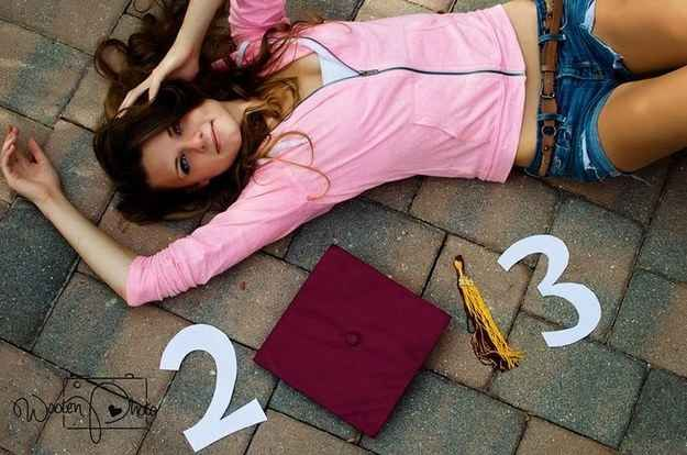 Put your graduation cap to good use (i.e. not on your head).   47 Brilliant Tips To Getting An Amazing Senior Portrait