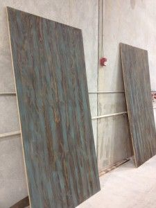 Marine grade plywood stained, then I went to the mill and hand painted with American Paint Company's Shoreline (A beautiful Turquoise color) Clay ~ Chalk~ Mineral Base Paint