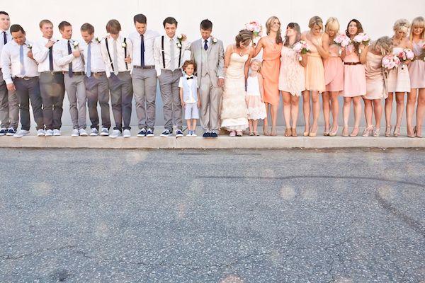 group: Wedding Parties, Ideas, Grey Suits, Bridesmaid Dresses, Weddings, Group Shots, Colors, Bridal Parties, Peaches