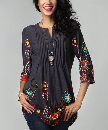 This Charcoal Garden Notch Neck Pin-Tuck Tunic is perfect! #zulilyfinds