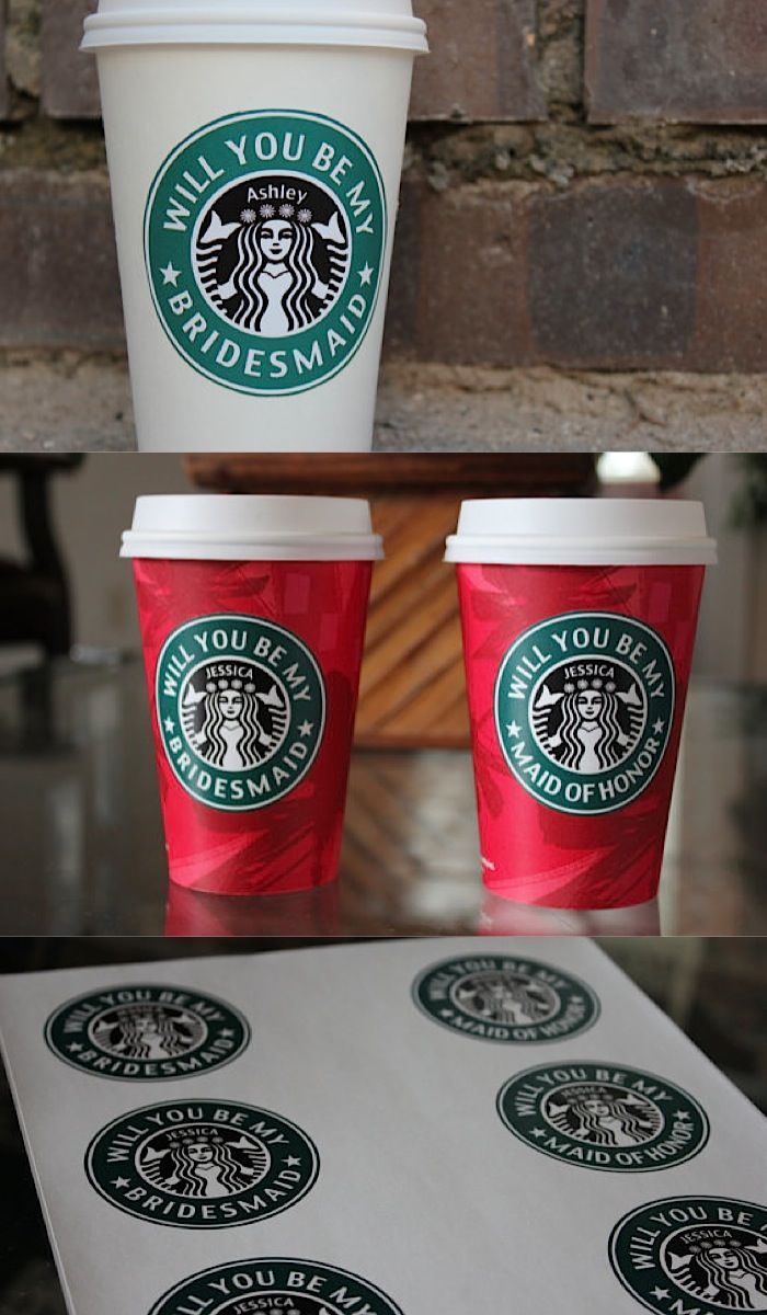 Featured: LoostersShop on Etsy; Bridesmaid proposal Starbucks cups, the perfect surprise for a fun little coffee date with your girls.