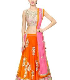 Buy Orange embroidered net unstitched ghagra choli ghagra-choli online