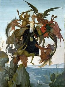 Whoa...Crazy. A copy by the young Michelangelo after an engraving by Martin Schongauer around 1487-9, The Torment of Saint Anthony. Oil and tempera on panel. One of many artistic depictions of Saint Anthony's trials in the desert.
