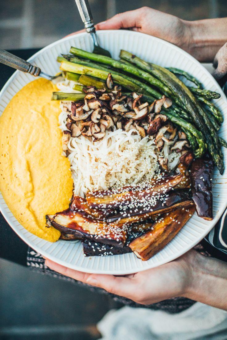 Barbecue Eggplant Noodle Bowl with Golden Beet Romesco Sauce (Vegan, Gluten Free)