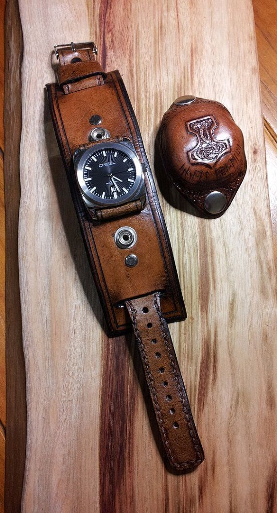 Leather Watch Band / Cuff - Thors Hammer, Mjölnir, Viking, Knotwork, Dark Ages, Medieval, Norse Gods, Pagan, Steampunk, Retro, Custom Made on Etsy, $166.57 - fine watches, mens classic watches, strap watches for mens  ad