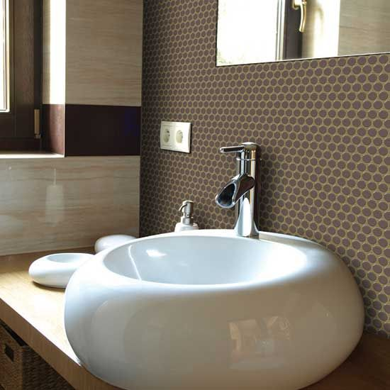 Retro Rounds Saddle Brown Glazed Porcelain Mosaic Wall Tile 2014 Fall New Products