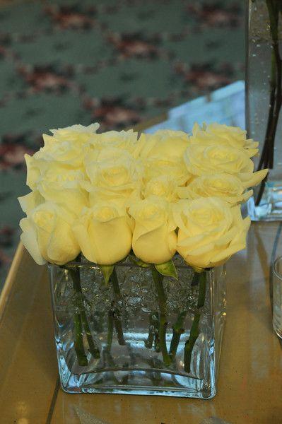 Altar floral detail - pave rose arrangement in square glass vases