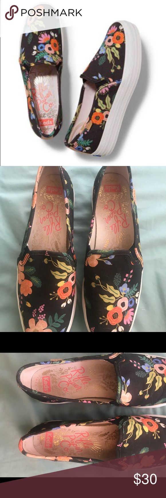 Rifle Paper Co x Keds Slip Ons Floral Rifle Paper Co x Keds collaboration slip on shoes in the style Women's Triple Decker Floral.  I've only worn these shoes once so I'm including photos of how the soles and the bottom looks for proof. I can include the box with them if you want as well.  Just a note, these are a size 8 but for me they were not a true 8 and were tight on me (hence me selling them because they're beautiful and I wish they fit.) they run closer to a 7.5 unless you want to…