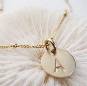 gold initial charm necklace... so pretty a delicate - WANT!