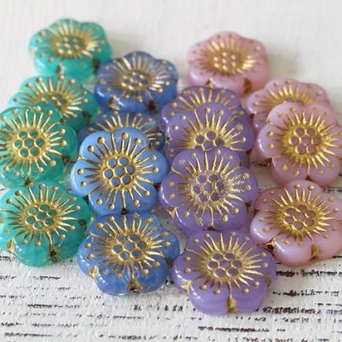 Hand painted flowers with bronze band 18 mm Czech Glass Button