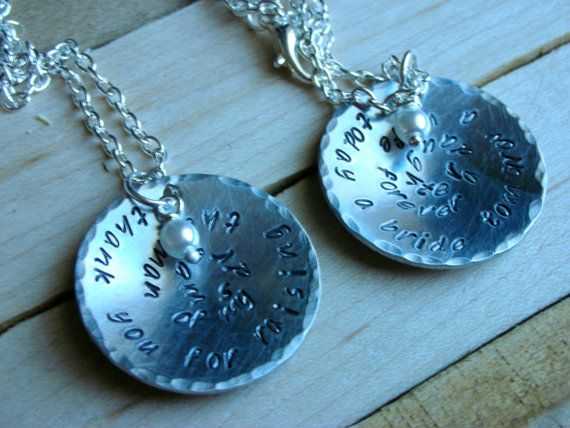 Mother of the Bride and Groom Necklace Gift by TheLandlockedDogTwo