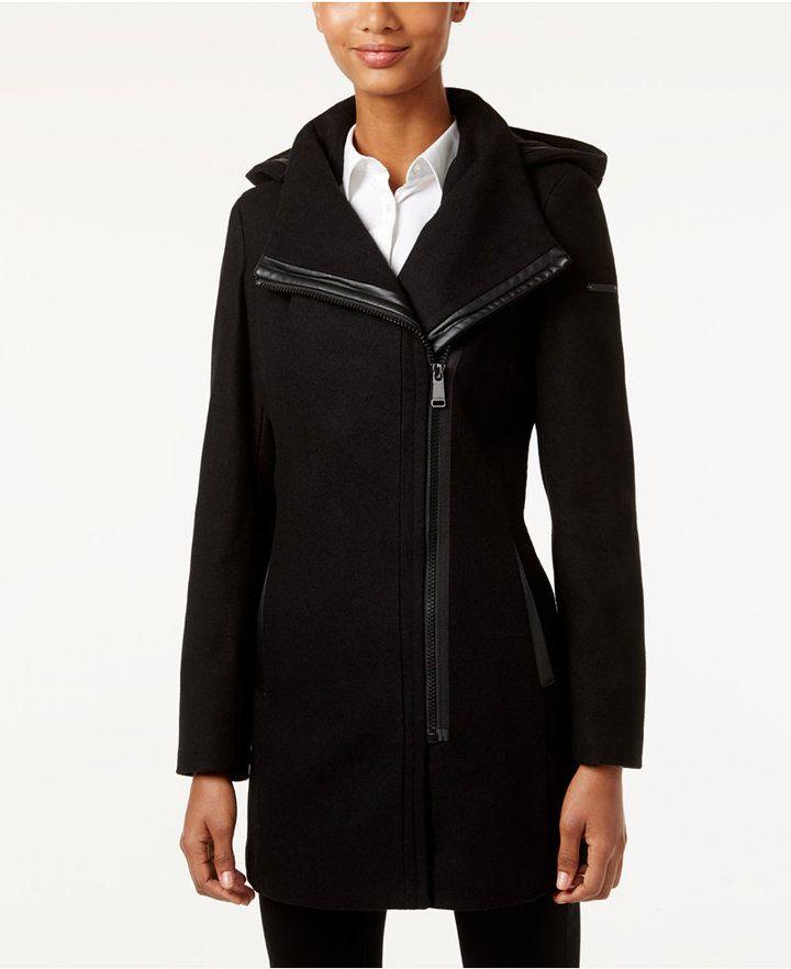 Calvin Klein Hooded Asymmetrical Walker Coat Created For Macy S Asymmetrical Coat Coats For Women Leggings Are Not Pants