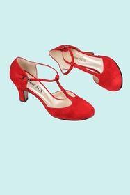 Antoine et Lili SALOME VELOURS Rouge Escarpins forme salomé, à talon (7 cm) avec bride en métal. exterieur suedine semelles interieures et extérieures en cuir. chaussures fabriquées en espagne. 145,00 €