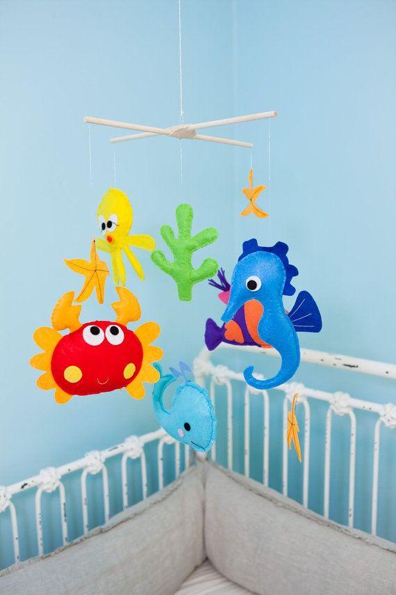 Baby Crib Mobile - Baby Mobile - Felt Mobile - Nursery mobile - Aqua whale (Custom Color Available). $78.00, via Etsy.