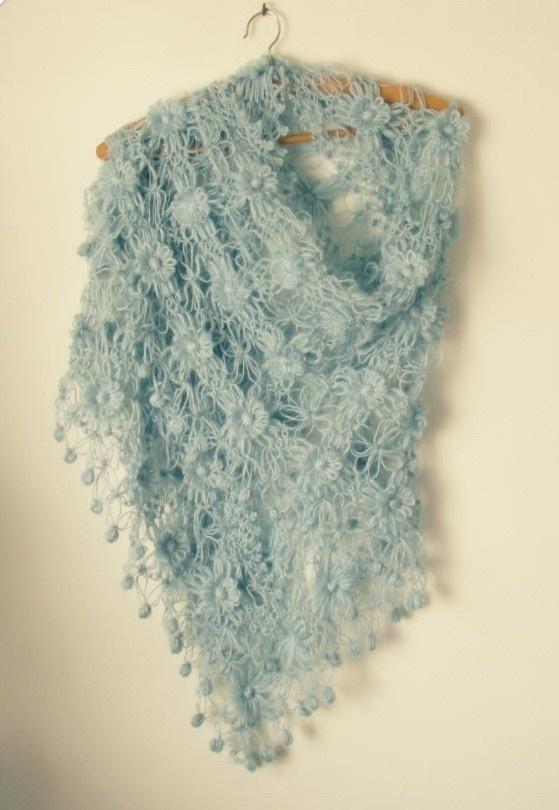 Pale Blue Knit Shawl