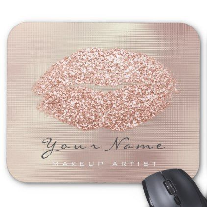 Rose Gold Grill Glitter Name Makeup Lips Kiss Mouse Pad - rose gold style stylish diy idea custom