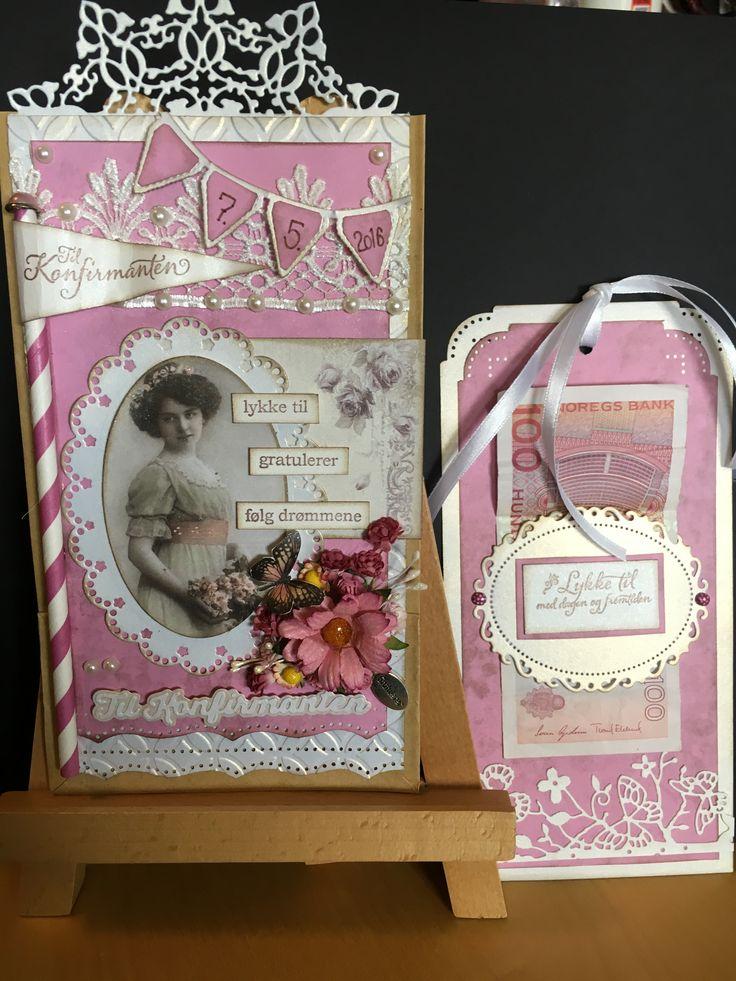 #scrapbook #konfirmasjonskort #pink #card