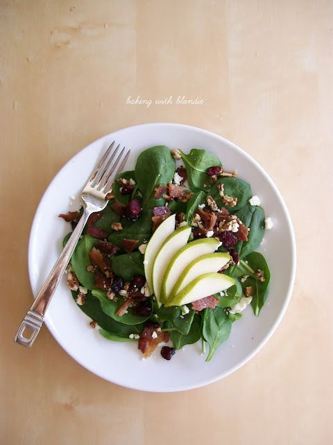 Baking with Blondie : Pear and Candied Pecan Salad with Bacon and Feta